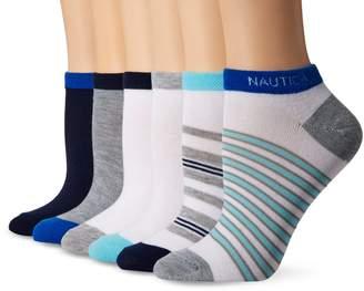 Nautica Women's Stripe 6PP Fashion No Show Socks, Multi Colors