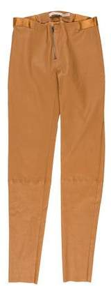 Alice + Olivia Leather Low-Rise Pants