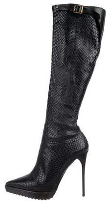 Burberry Python Knee-High Boots