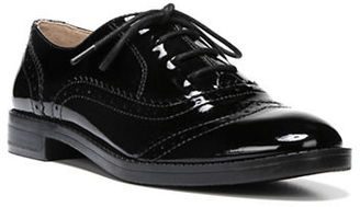 Franco Sarto Imagine Stacked Patent Leather Heel Wingtip Oxfords $79 thestylecure.com