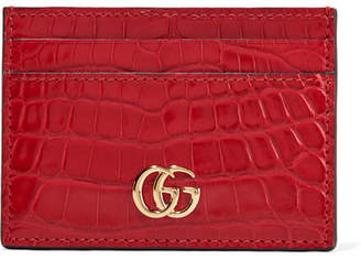 Gucci Marmont Petite Alligator Cardholder - Red