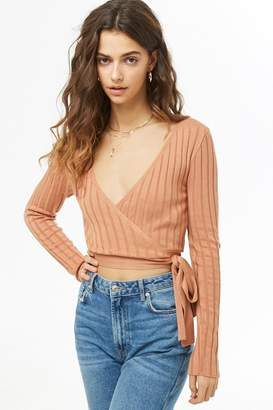 Forever 21 Ribbed Cropped Surplice Sweater