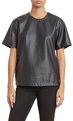Kenneth Cole Women's Faux Leather Moto T-Shirt