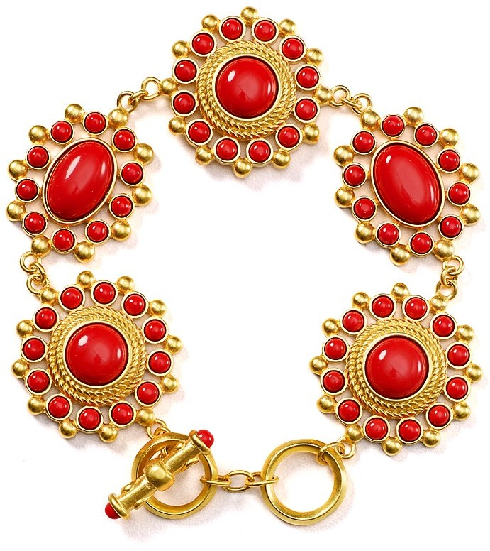 Carolee Lux Linked Coral Bracelet