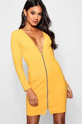boohoo Plunge Front O Ring Zip Bodycon Dress