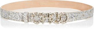 Jimmy Choo NICE Champagne Coarse Glitter Fabric Belt with Mixed Crystal Logo