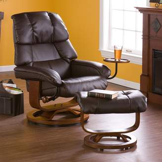 Southern Enterprises Leland Brown Leather Recliner & Ottoman