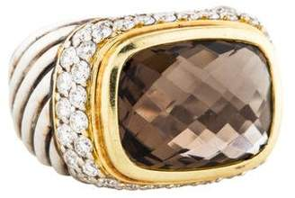 David Yurman Diamond & Smoky Quartz Cocktail Ring