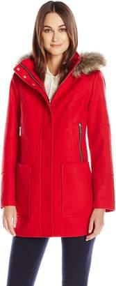 "London Fog Women's 31"" Wool with Fur Trim Hood"