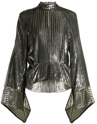 Petar Petrov Eartha Metallic Striped Blouse - Womens - Black Silver