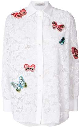 Valentino embroidered butterfly lace shirt