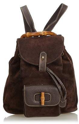 d68dda0074a9 Gucci Vintage Bamboo Suede Drawstring Backpack