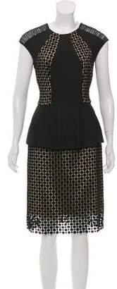 Lela Rose Peplum Midi Dress