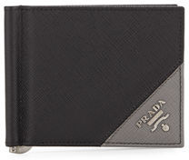 Prada Saffiano Leather Contrast-Corner Money Clip $370 thestylecure.com