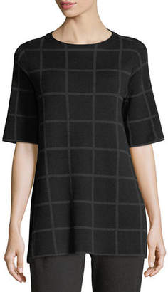 Eileen Fisher Short-Sleeve Fine Windowpane Crepe Tunic