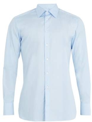 Kilgour Single Cuff Cotton Poplin Shirt - Mens - Blue