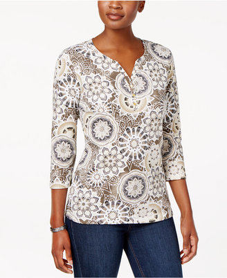 Karen Scott Printed Henley Top, Only at Macy's $9.98 thestylecure.com