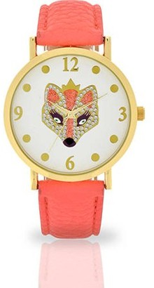 ACCUTIME WATCH CORP Women's Coral Fox Dial Watch, Faux Leather Band