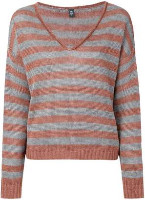 Eleventy striped V-neck jumper