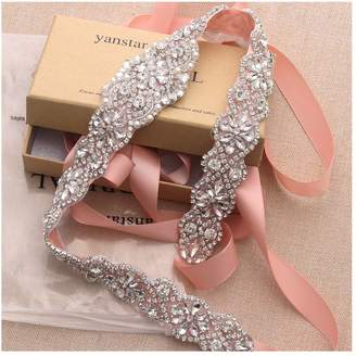 yanstar Wedding Bridal Belt for Wedding Dress Rose Gold Crystal Rhinestone Applique Beaded On White Wedding Belt Sash