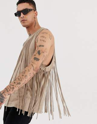 Asos Design DESIGN festival relaxed singlet with all round fringing in linen look fabric
