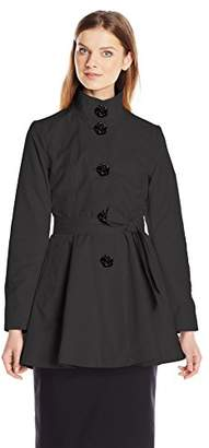 Betsey Johnson Women's Skirted Trench Coat with Rose Buttons $99.99 thestylecure.com