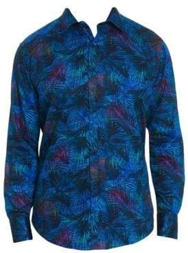 Robert Graham Men's Leafy Dreams Botanical Button-Down Shirt - Size Small