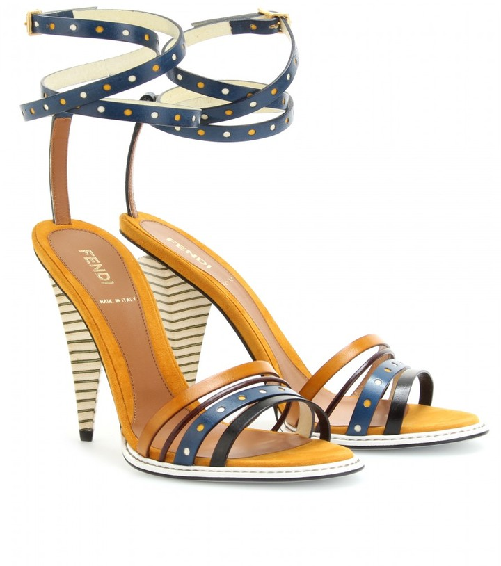 Fendi COLOR-BLOCKED STRAPPY LEATHER SANDALS