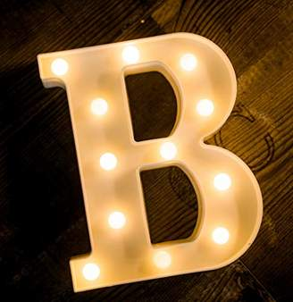 Yoaky LED Marquee Letter Lights Sign 26 Alphabet Light Up Marquee Letters Sign for Night Light Wedding Birthday Party Battery Powered Christmas Lamp Home Bar Decoration (B)