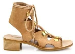 See by Chloe Edna Cutout Suede Lace-Up Sandals