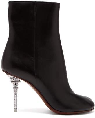 Vetements Eiffel Tower Heel Leather Ankle Boots - Womens - Black
