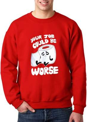 New Way 1120 - Crewneck Your Job Could Be Worse Toilet Paper Sweatshirt 3XL Red