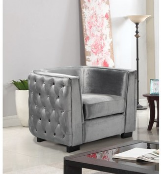 Chic Home Ivos Club Chair Velvet Upholstered Button Tufted Design