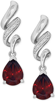 Macy's Garnet (2-5/8 ct. t.w.) and Diamond Accent Swirl Drop Earrings in Sterling Silver