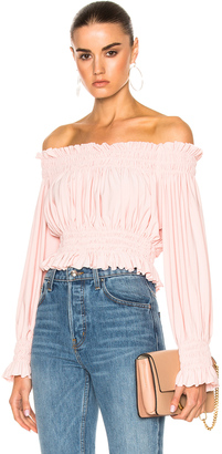 Norma Kamali Cropped Peasant Top $125 thestylecure.com