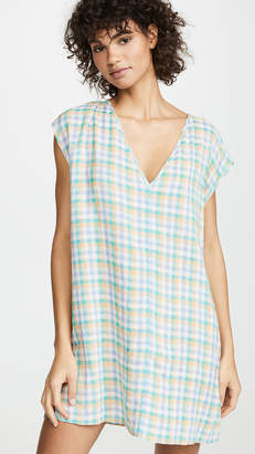 Madewell Cover Up Tunic Dress in Pastel Gingham Check