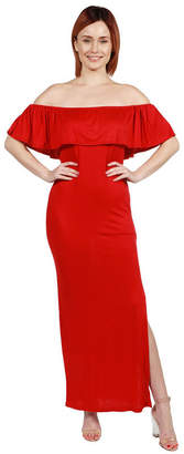 24/7 Comfort Apparel Long Cool Woman Off the Shoulder Dress