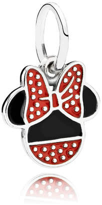 Pandora Disney, Minnie Icon Pendant Charm - Enamel / Sterling Silver / Black / Red