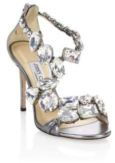 Jimmy Choo Karima 100 Crystal & Metallic Leather Sandals