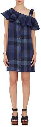 Sea WOMEN'S PLAID LINEN SLEEVELESS SHIFT DRESS