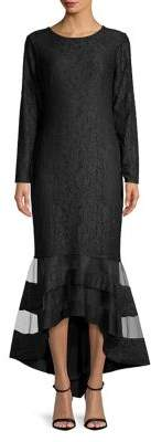 Lauren Ralph Lauren Long Sleeve Lace Trumpet Gown