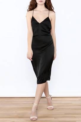 Cotton Candy Black Satin Midi Dress $75 thestylecure.com