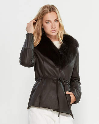 Intuition Paris Belted Real Fur-Trimmed Leather Coat