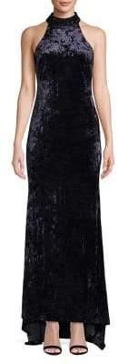 Calvin Klein Embellished Sleeveless Velvet Gown