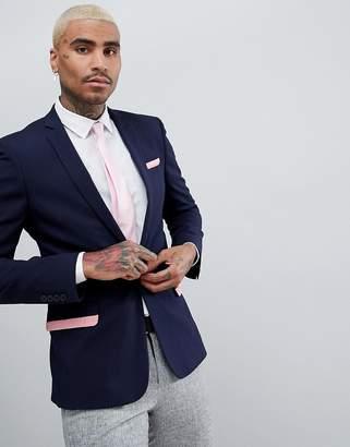 Asos DESIGN Super Skinny Blazer In Navy With Pink Frills
