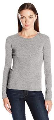 Lark & Ro Women's 100 Percent Cashmere 2 Ply Slim Fit Basic Crewneck Sweater