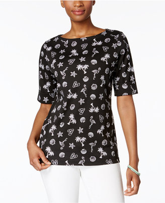 Karen Scott Tropical-Print Boat-Neck Top, Only at Macy's $29.50 thestylecure.com