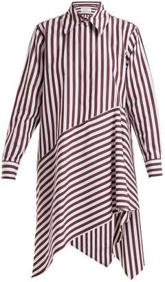 Marques Almeida MARQUES'ALMEIDA Striped asymmetric-hem cotton shirtdress