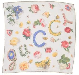 Gucci Floral Print Silk Pocket Square