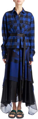 Sacai Long-Sleeve Button-Front Belted Check Cotton Shirtdress